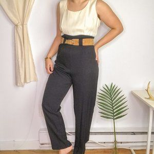 80s Vintage Color block Jumpsuit Black & White